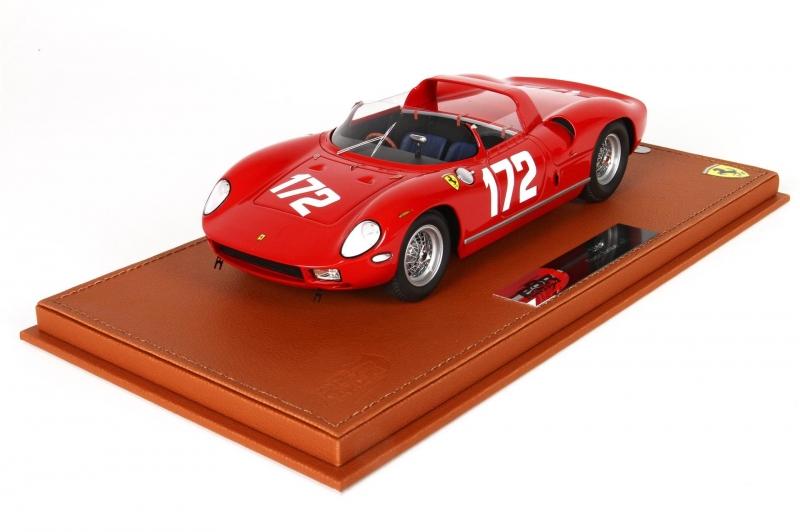 Ferrari 250 P Targa Florio 1963,met Lederen Basis En Vitrine