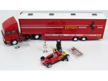 IVECO FIAT 190,Ferrari Race Transporter Set G.P. San Marino 1982,figuur Villeneuve,F1 Ferrari 126c2 Nr27