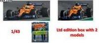 MCLAREN MCL35M N°3 + N°4 MCLAREN WINNER GP ITALY 2021 + 2nd GP ITALY 2021 W/PIT BOARD ltd1000pcs