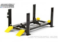 Four-Post Lift, blac gris blanc with;  jaune ramps